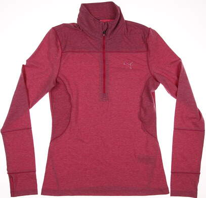 New Womens Puma Dry Cell Performance Golf 1/4 Zip Pullover Small S Pink Heather MSRP $70 567007
