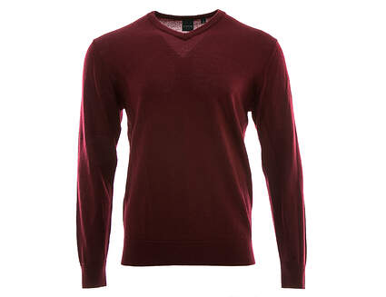 New Mens Dunning Golf Player Merino V-Neck Sweater Large L Maroon MSRP $125 D7F12S149