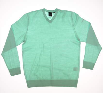 New Mens Dunning Golf Player Merino V-Neck Sweater Large L Green MSRP $125