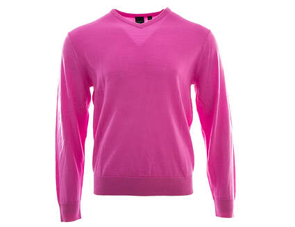 New Mens Dunning Golf Player Merino V-Neck Sweater Large L Pink MSRP $125 D7F12S149