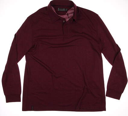 New Mens Mizuno Breath Thermo Long Sleeve Polo XX-Large XXL Maroon MSRP $75
