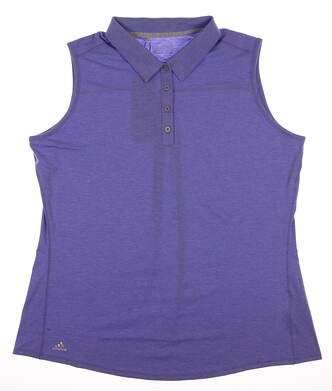 New Womens Adidas Golf Essentials Heather Sleeveless Polo X-Large XL Purple MSRP $50