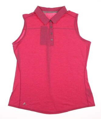 New Womens Adidas Golf Essentials Heather Sleeveless Polo X-Large XL Pink MSRP $50