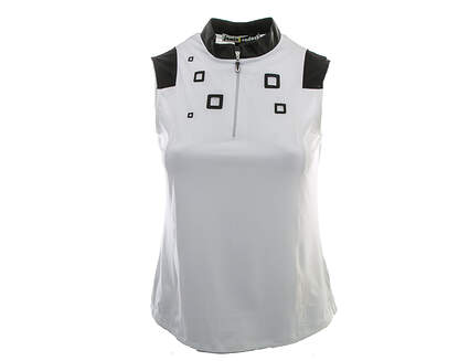 New Womens Jamie Sadock Golf Sugar Sleeveless Polo Small S White MSRP $89