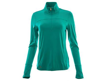 New Womens Adidas Golf Rangewear 1/2 Zip Pullover Jacket Small S Green MSRP $70 AF0018