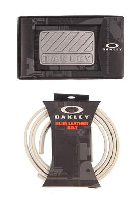 New Mens Oakley Golf White Leather Belt with Buckle One Size Fits Most (Cut to Length) MSRP $65