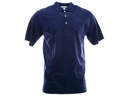 New W/ Logo Mens Peter Millar Golf Solid Lisle Polo Medium M Navy Blue MSRP $95 MC00K01