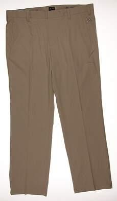 New Mens Adidas Golf CLimalite 3-Stripes Pants 38x32 Khaki MSRP $70 B82628