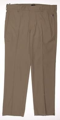 New Mens Adidas Golf Climalite 3-Stripes Pants 34x30 Khaki MSRP $70 B82628