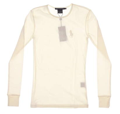 New Womens Ralph Lauren Long Sleeve Crew Neck Small S White MSRP $75