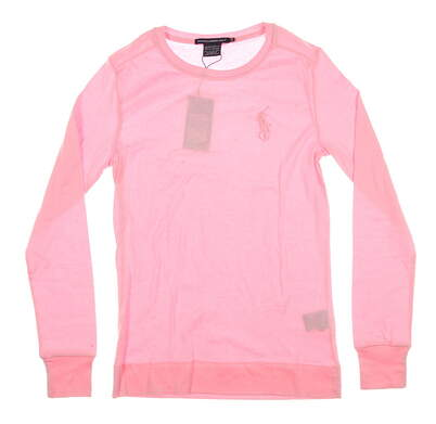 New Womens Ralph Lauren Long Sleeve Crew Neck Medium M Pink MSRP $80