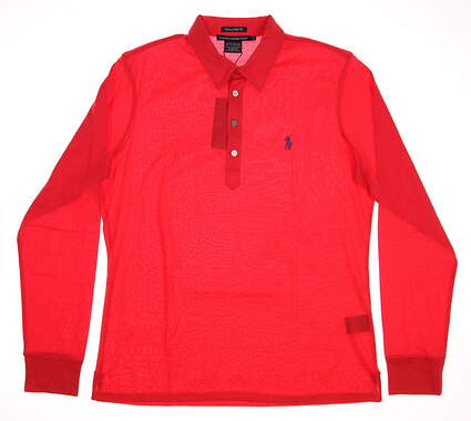 New Womens Ralph Lauren Tailored Golf Fit Long Sleeve Polo Large L Red MSRP $95