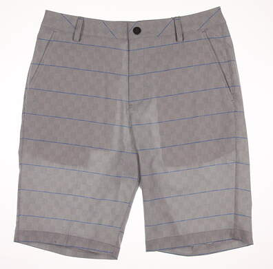 New Mens Puma Plaid Golf Shorts Size 32 Bright White/French Blue MSRP $75
