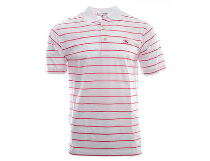 New W/ Logo Mens Peter Millar Hurricane Stripe Cotton Golf Polo Small S White MSRP $95 MS16K13