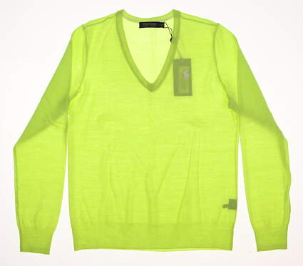New Womens Ralph Lauren Merino Wool V-Neck Sweater Medium M Green MSRP $145
