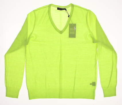 New Womens Ralph Lauren Golf Merino Wool V-Neck Sweater Large L Green MSRP $145