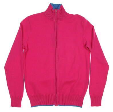 New Womens Ralph Lauren Golf Full Zip Sweater Medium M Pink MSRP $145