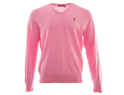 New W/ Logo Mens Ralph Lauren Golf V-Neck Sweater Large L Pink MSRP $110