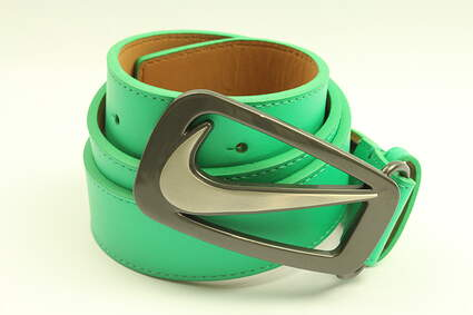 New Mens Nike Golf Signature Swoosh Cut Out Belt 36 Green Leather MSRP $45