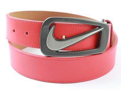 New Mens Nike Golf Signature Swoosh Cut Out Belt 36 Red Leather MSRP $45