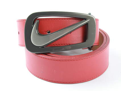 New Mens Nike Golf Signature Swoosh Cut Out Belt 36 Cardinal Red Leather MSRP $45