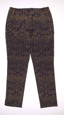 New Womens EP Pro Kings Landing Regal Scroll Print Pants Size 10 Blue / Gold MSRP $98 9241GD