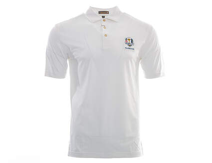 New Mens Peter Millar Golf Solid Stretch Mesh Polo Ryder Cup Small S White MSRP $79 MF16EK50S