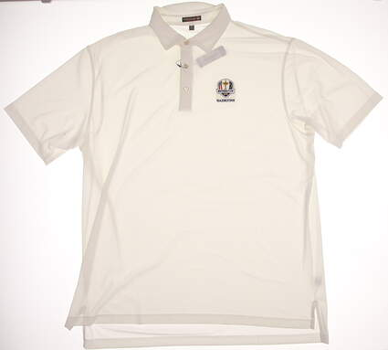 New Mens Peter Millar Golf Solid Stretch Mesh Polo Ryder Cup XX-Large XXL White MSRP $79 MF16EK50S