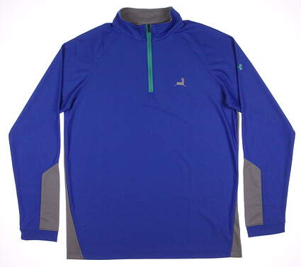 New W/ Logo Mens Under Armour Golf Loft 1/4 Zip Pullover Large L Blue / Gray MSRP $66 UM7185