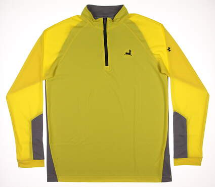 New W/ Logo Mens Under Armour Golf Loft 1/4 Zip Pullover Large L Yellow / Gray MSRP $66 UM7185