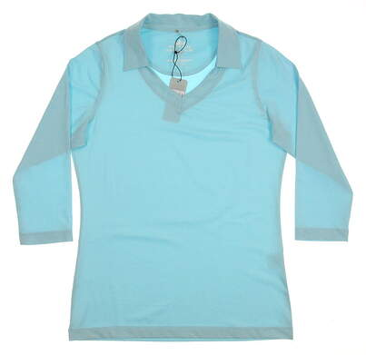 New Womens Peter Millar Golf 3/4 Sleeve Polo X-Small XS Blue MSRP $79.50