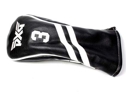 PXG 0811 3 Wood Black White Stitched 3 Leather Headcover Head Cover Golf