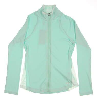 New Womens Under Armour Golf ColdGear Swing Full Zip Mock Neck Small S Green MSRP $80 UW1211