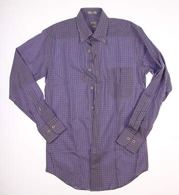 New W/ Logo Mens Peter Millar Twill Check Sport Button Up Small S Purple / Blue / White MSRP $125 MS16W10CBL
