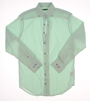 New W/ Logo Mens Peter Millar Sailor Stripe Performance Sport Button Up Small S Green / White MSRP $135 MS16EW02