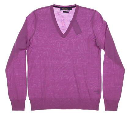 New Womens Ralph Lauren Polo Solid Merino Golf Sweater Medium M Purple MSRP $145