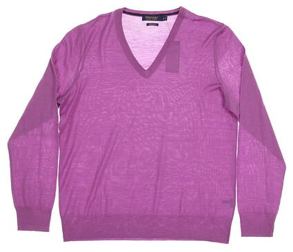 New Womens Ralph Lauren Polo Golf Solid Merino Wool Sweater X-Large XL Purple MSRP $145