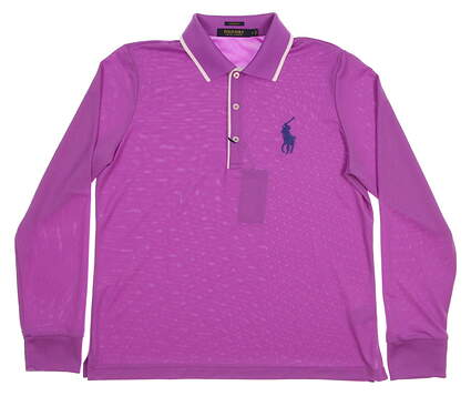 New Womens Ralph Lauren Polo Golf Tailored Fit Solid Long Sleeve Polo Large L Purple MSRP $98