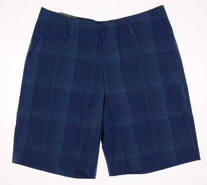 New Mens Under Armour Golf Plaid Shorts Size 34 Blue MSRP $70 UM7980