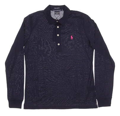 New Womens Ralph Lauren Golf Tailored Golf Fit Long Sleeve Polo Medium M Navy Blue MSRP $95 0476456