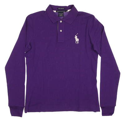 New Womens Ralph Lauren Golf Tailored Golf Fit Long Sleeve Polo Medium M Purple MSRP $95 0482815