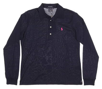 New Womens Ralph Lauren Golf Tailored Golf Fit Long Sleeve Polo Large L Navy Blue MSRP $95 0476456