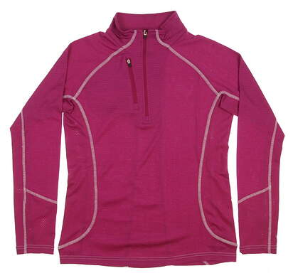 New Womens Straight Down Golf 1/2 Zip Pullover Medium M Pink MSRP $69 14146