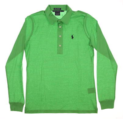 New Womens Ralph Lauren Golf Tailored Golf Fit Solid Cotton Long Sleeve Polo Small S Green MSRP $95 0476458