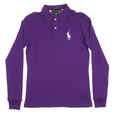 New Womens Ralph Lauren Golf Tailored Golf Fit Solid Long Sleeve Polo Small S Purple MSRP $95 0482815