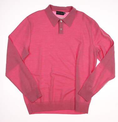 New W/ Logo Mens Ralph Lauren Polo Golf Merino Wool Sweater Medium M Pink MSRP $155