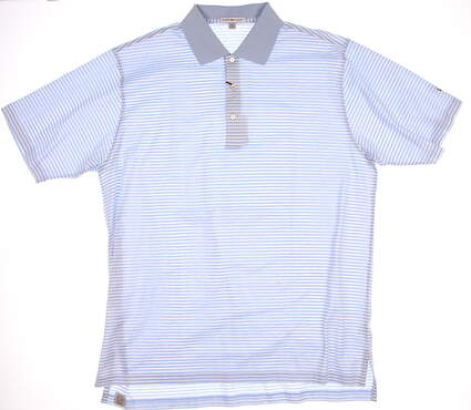 New W/ Logo Mens Peter Millar Golf Classic Stripe Lisle Polo X-Large XL Blue MSRP $95 MC00K02