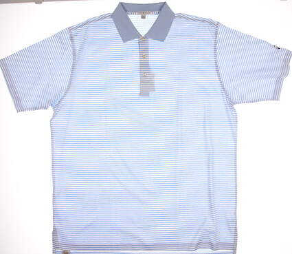 New W/ Logo Mens Peter Millar Golf Classic Stripe Lisle Polo XX-Large XXL Blue MSRP $95 MC00K02
