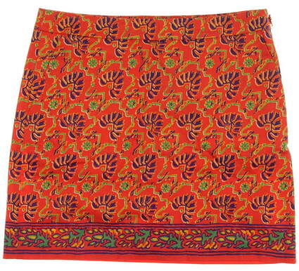New Womens Ralph Lauren Polo Golf Printed Skort Size 6 Orange MSRP $145
