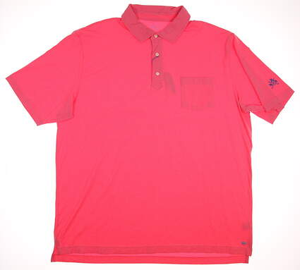 New W/ Logo Mens Peter Millar Golf Seaside Solid Polo X-Large XL Pink MSRP $78 MS16K70
